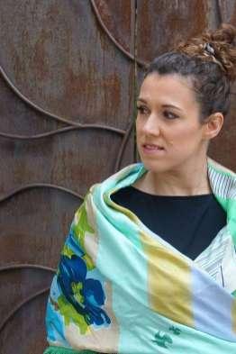 Wayome Upcycling foulard vert d'eau cache coeur zoom