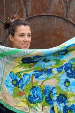 Wayome Upcycling foulard vert d'eau cote pile zoom