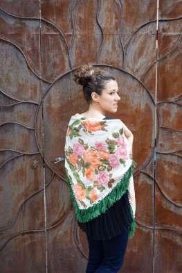 Wayome upcycling le foulard en soie vert jardin dos blanc