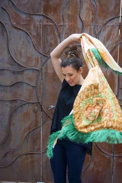 Wayome upcycling le foulard en soie vert jardin mouvement