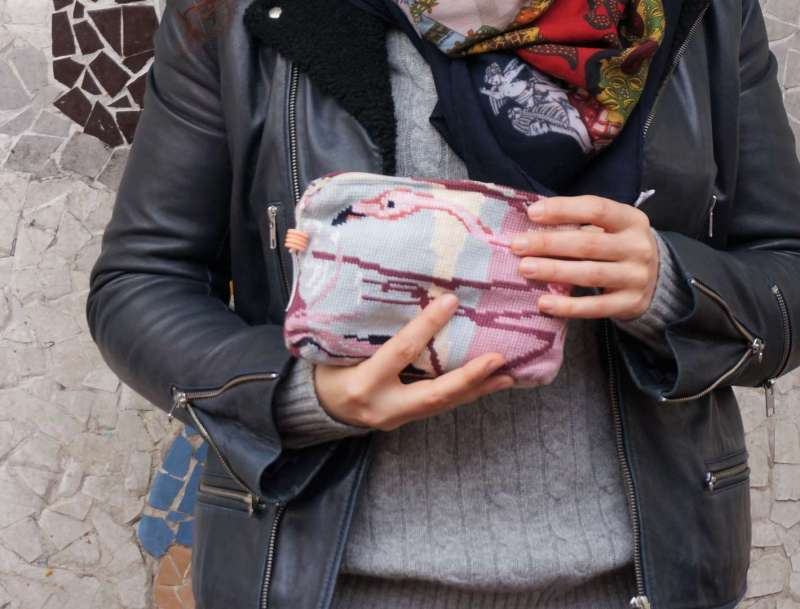 Wayome upcycling j'aime le rose et les flamands roses zoom pochette