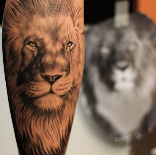 lion on back of leg