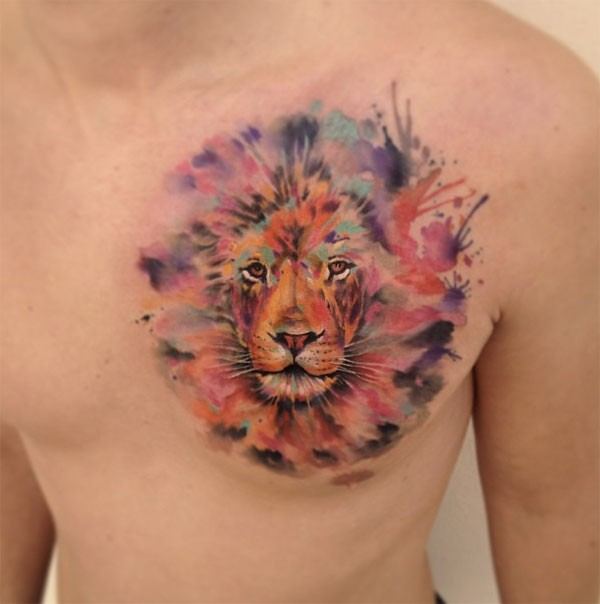 lion tattoo on chest colorful