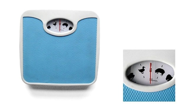 A weighing scale that gives you an approximate weight amount by telling you which animal you weigh the same as.