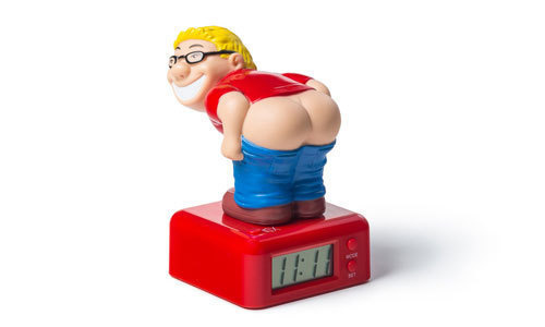 An alarm clock that wakes you up with the sound of a fart.