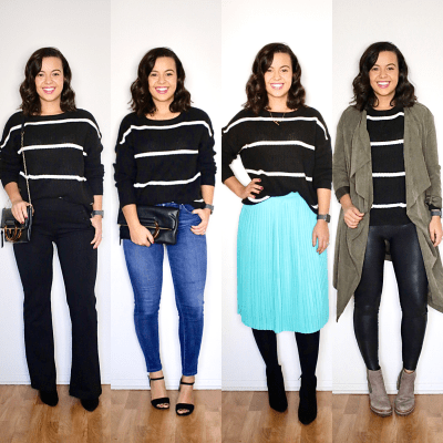 Making a chunky sweater look stylish for Winter + 4 different looks.