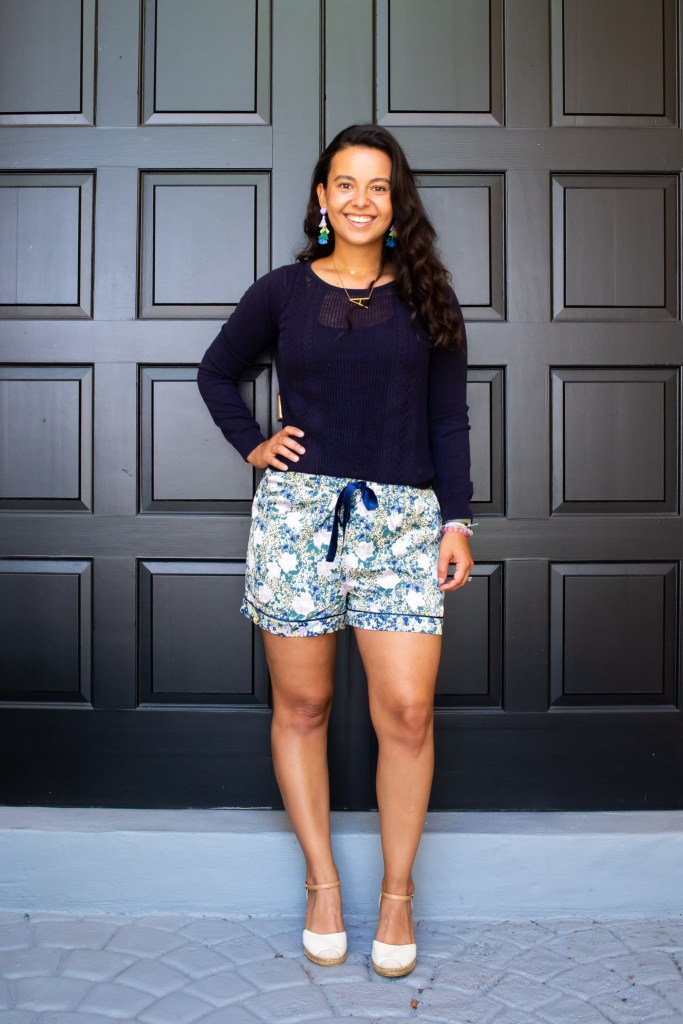 Styling Pj shorts for spring with a sweater an espadrilles. Pajamas as daywear look 6