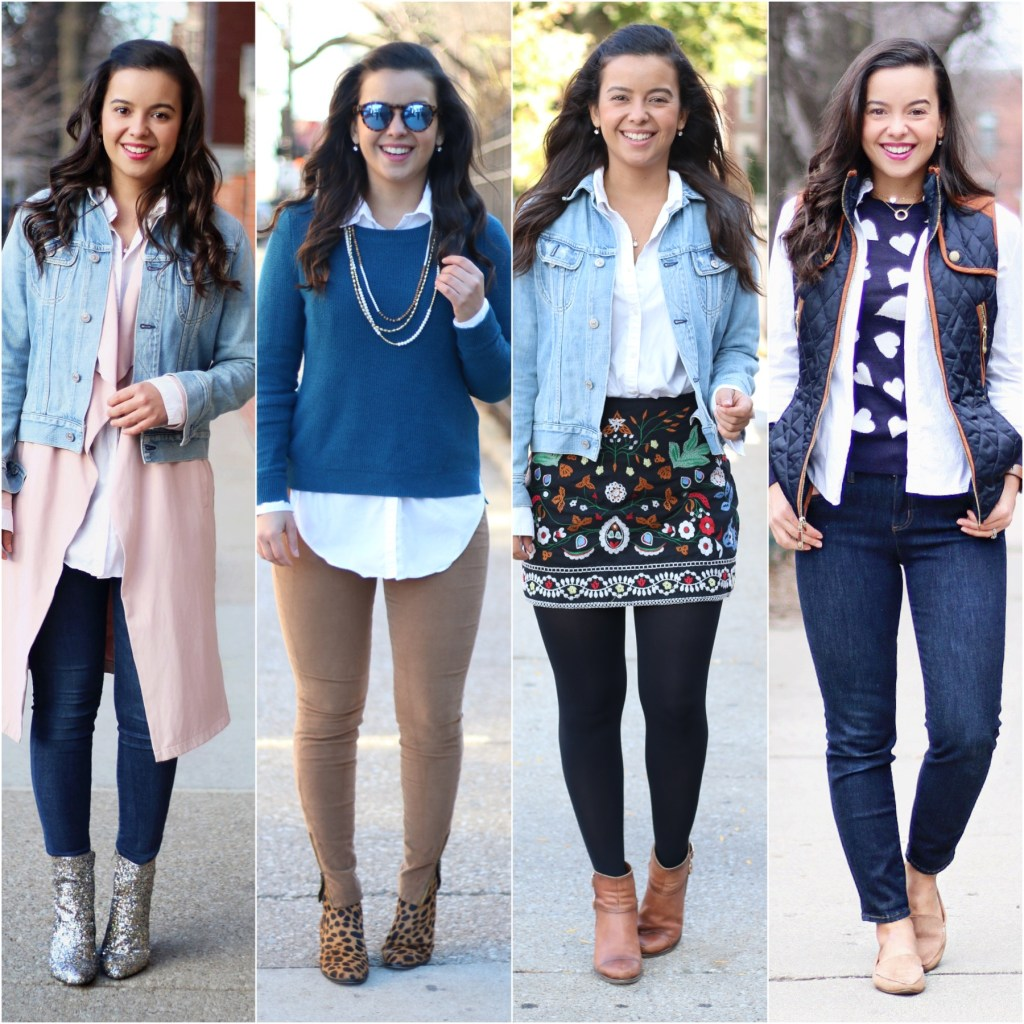 Layering a white button down shirt for Fall and Winter