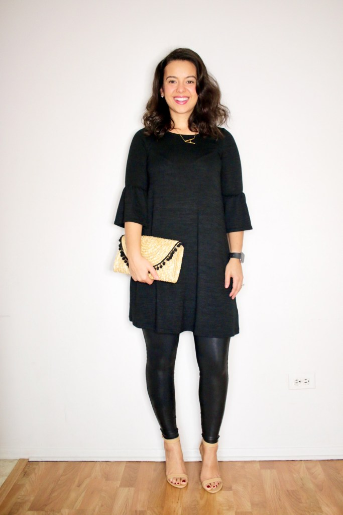 Styling Spanx leather leggings with a little black dress. Monochromatic outfit idea