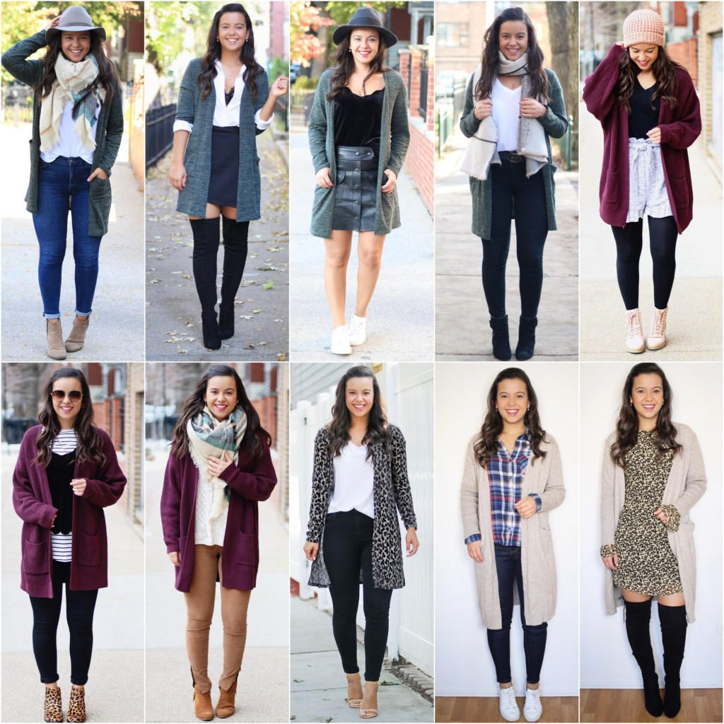 Different ways to style a long cardigan