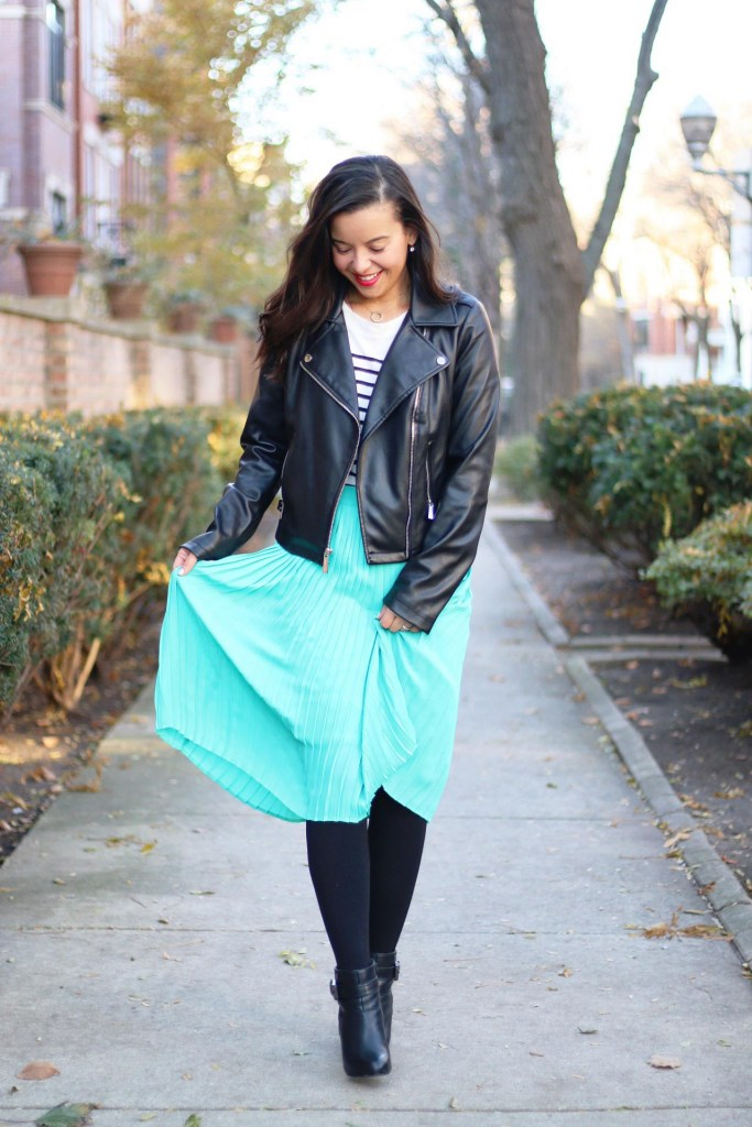Midi skirt outfit with boots