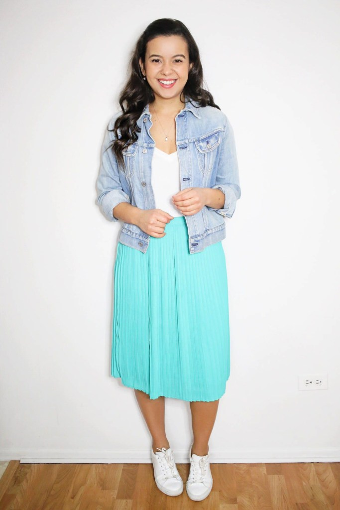 midi skirt with sneakers outfit ideas