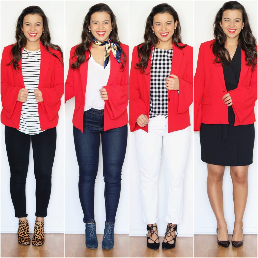 4 office outfits with a red blazer