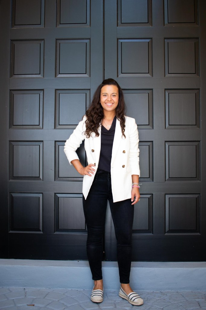 All black look with a white blazer
