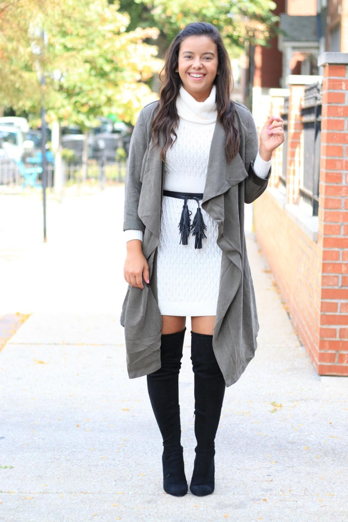 first date winter outfit idea with sweater dress