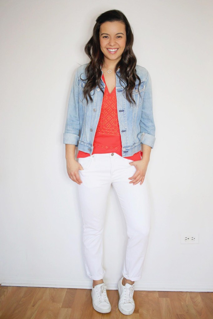 How to style white jeans with denim jacket