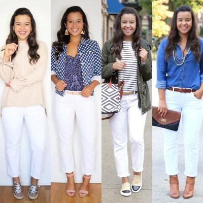 4 ways to style white jeans