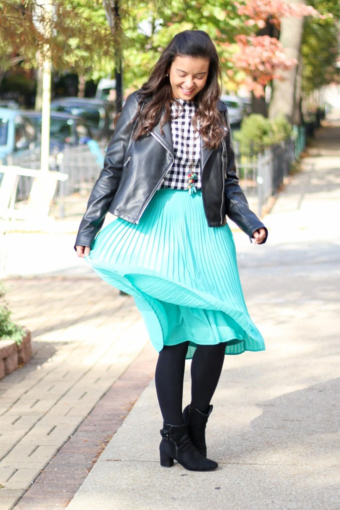How to wear a leather jacket with midi skirt