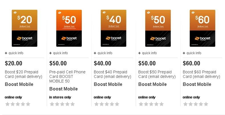Boost Mobile 40 Reboost Refill Card