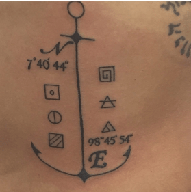 coordinates of Maya Bay tattooed on my ribs.