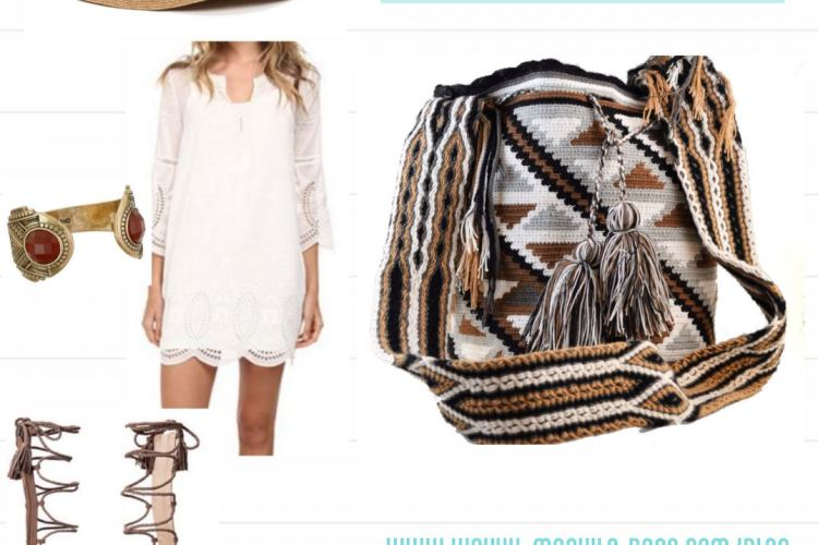 An outfit inspiration picture collage pairing an earth-tones design Wayuu bag with triangles patterns in gray, brown, black and white paired with a short 3/4th sleeve white summer dress, a sun hat, tall gladiator sandals and a golden bracelet.