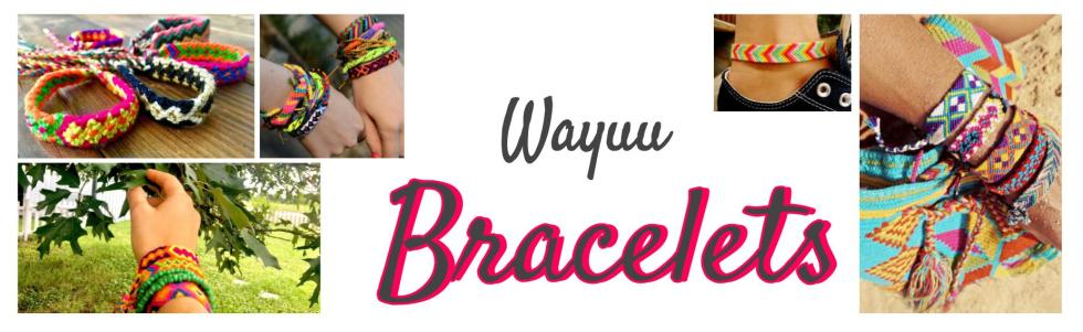 an assortment of Wayuu Bracelets potos of different color woven bracelets from the wayuu tribe