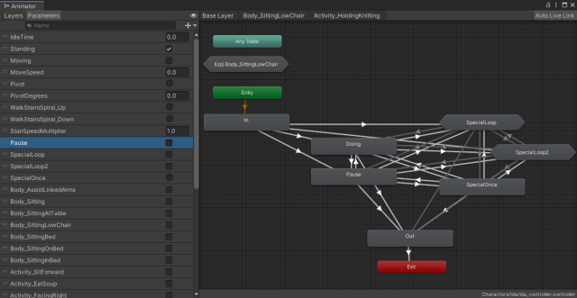 A screenshot of Unity's AnimatorController tool - it displays a visual representation of Ida's Animation states and transitions. It currently displays the internals of the Activity_HoldingKintting state, which includes a flow of In State, to Doing State, to Out State, as well as an arrangement of other states with interwoven transitions. These states are named Pause, SpecialLoop, SpecialLoop2 and SpecialOnce.