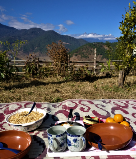 breakfast with a view at our homestay in punakha bhutan