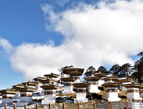 108 memorial chortens at dochula pass connection thimphu and punakha in bhutan