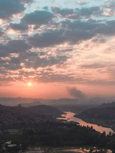 sunrise from anjana parvath or monkey hill hampi