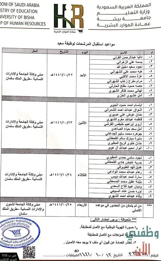 جامعة بيشة تعلن نتائج القبول ومواعيد استقبال المرشحين