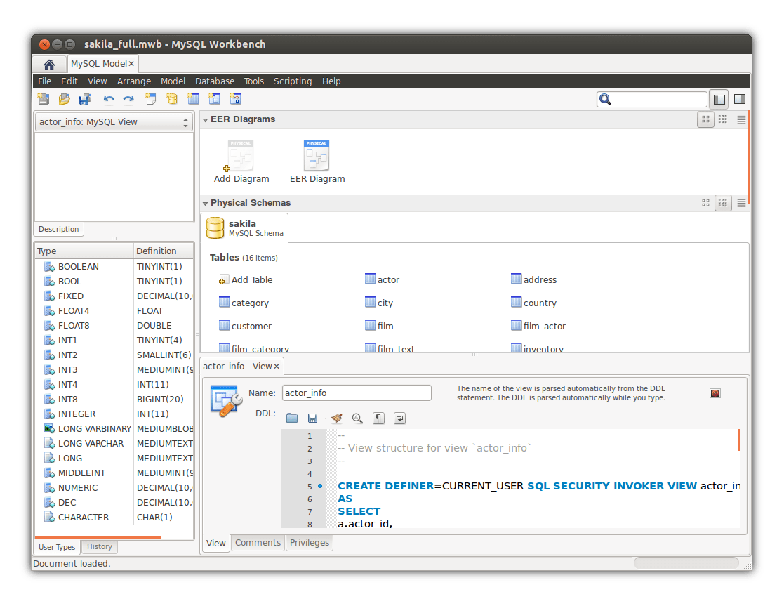 About Screenshots The Mysql Workbench Developer