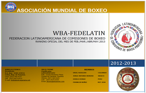 WBA FEDELATIN Ranking as of FEB-MAR-APR-MAY 2013