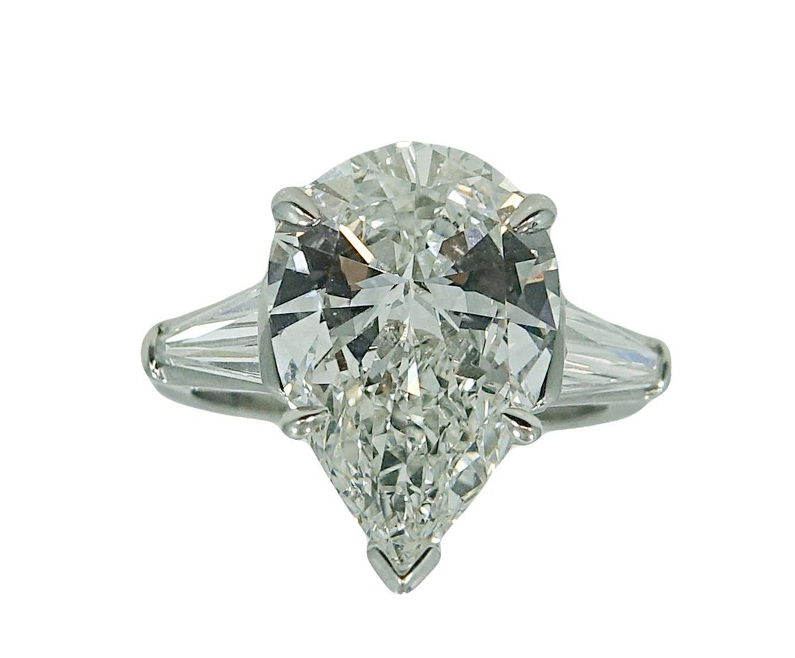 5.04 Carat Pear Shaped Diamond Platinum Engagement Ring