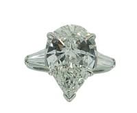 5.04 Carat Pear Shaped Diamond Platinum Engagement Ring ...