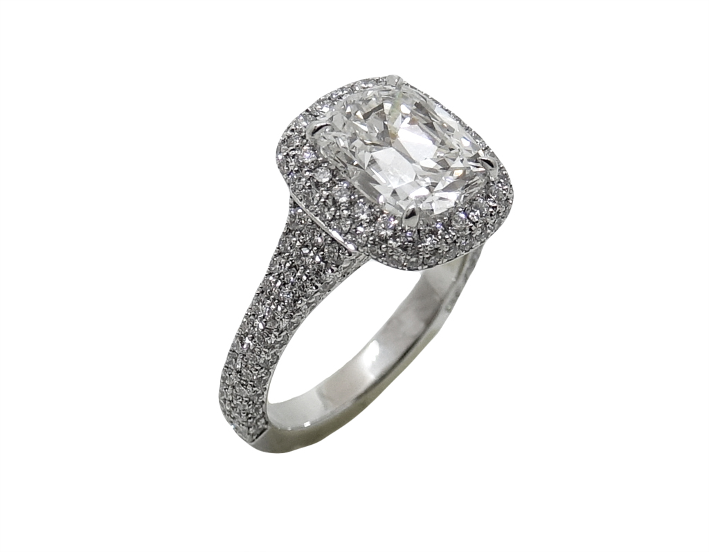 Platinum 3.02 Carat Cushion Cut Diamond Ring