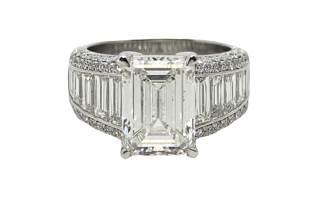 5.01 Carat Emerald Cut Diamond Platinum Ring