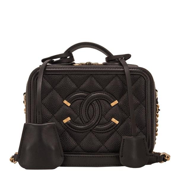 Chanel Black Caviar Mini Filigree Vanity Case World'