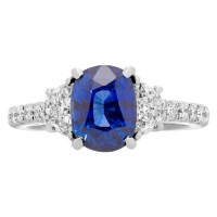 Madagascar Deep Blue Oval-cut Sapphire and Diamond Ring ...