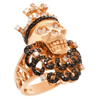 Skull Ring in 18k Rose Gold with White and Black Diamonds ...
