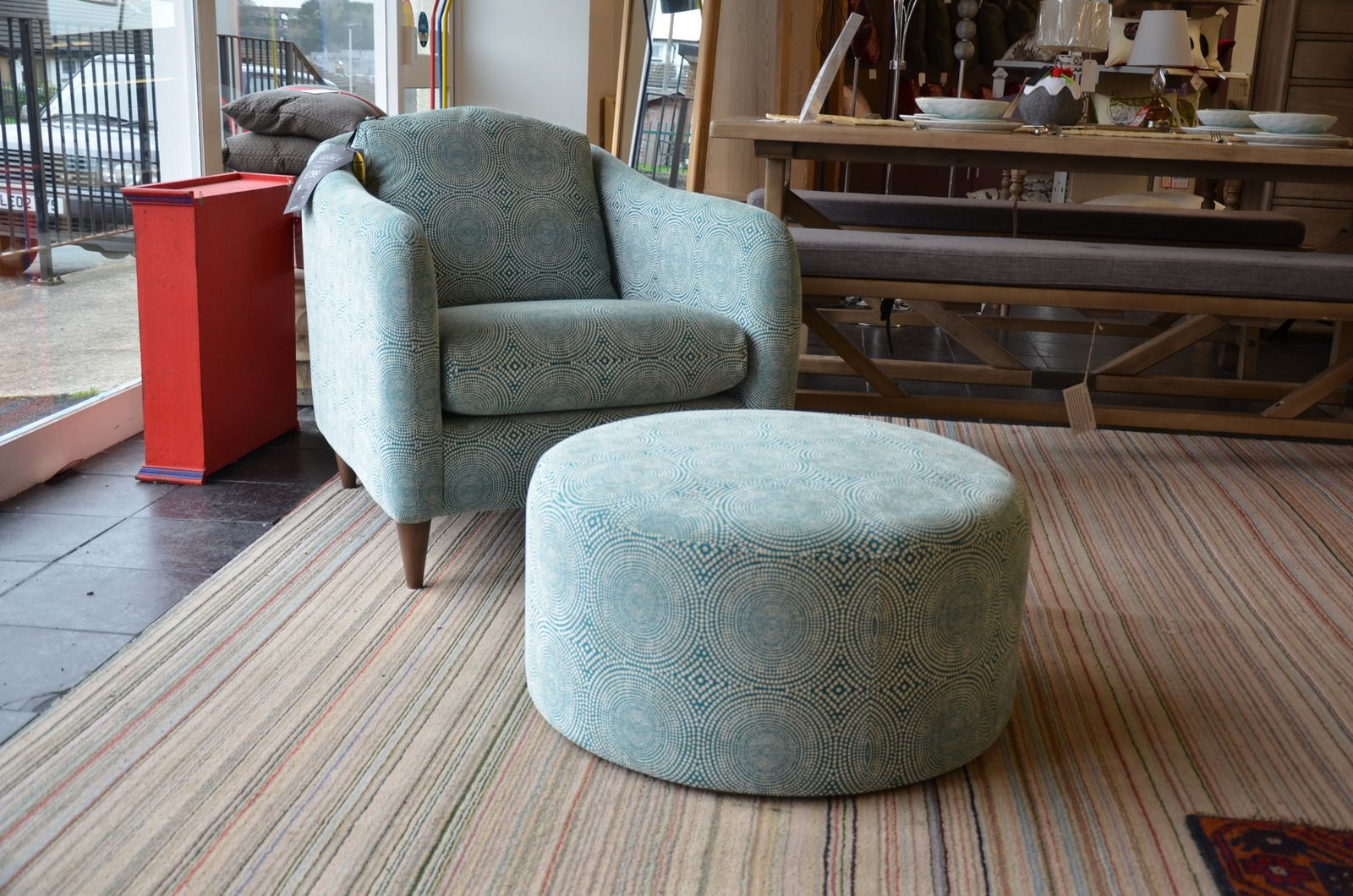 Hover Round Chairs George Accent Chair And Round Footstool