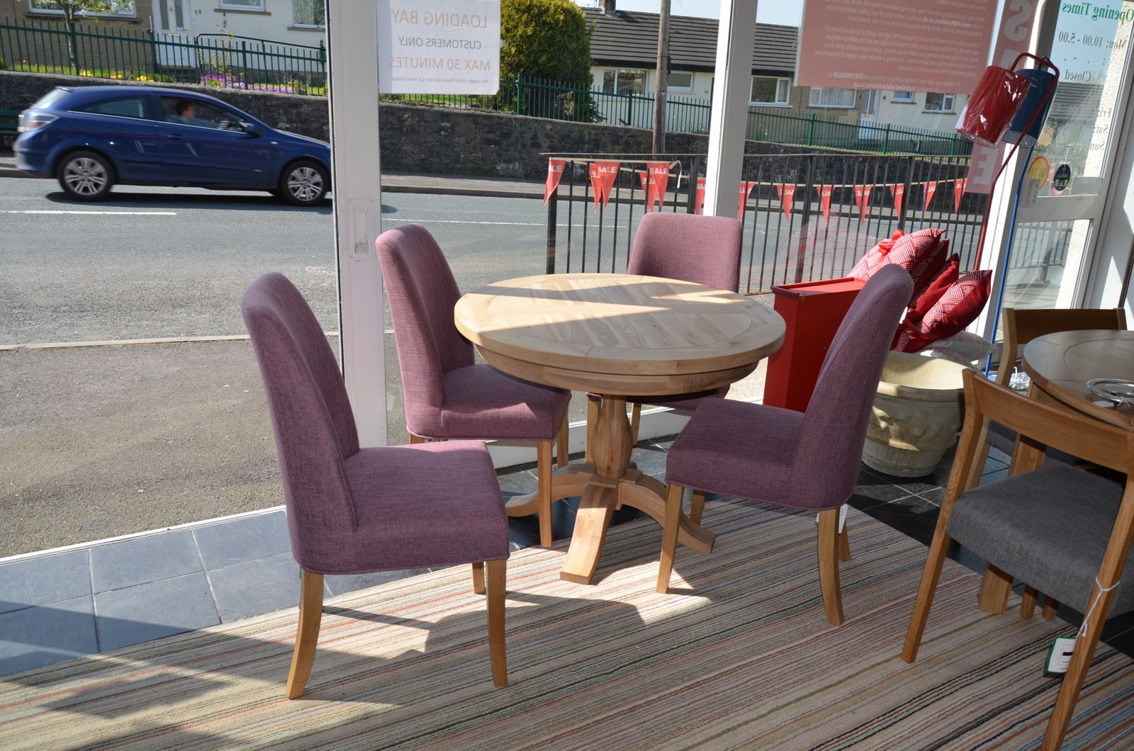 Hover Round Chairs Tuscany Round Dining Table And 4 Purple Pinner Chairs
