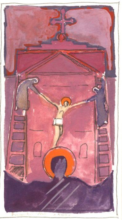 Stacja XIII: Jezus zdjęty z krzyża