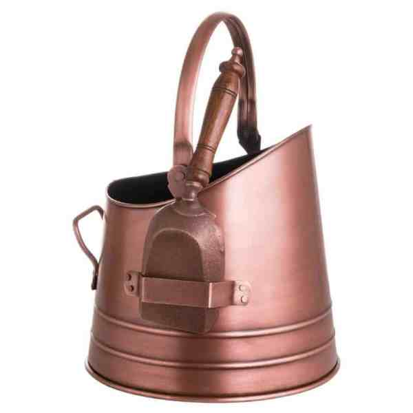 Copper Coal Bucket With Shovel
