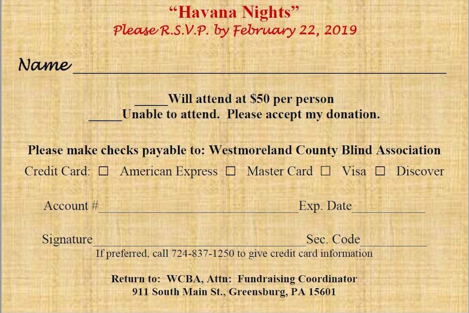 2019 Spring Gala – Havana Nights – Westmoreland County Blind
