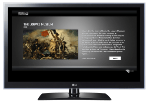 An LG smart TV displaying text about the Louvre Museum.