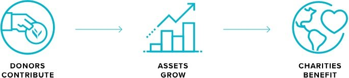 donors contribute, assets grow, charities benefit. Icons courtesy of National Philanthropic Trust.
