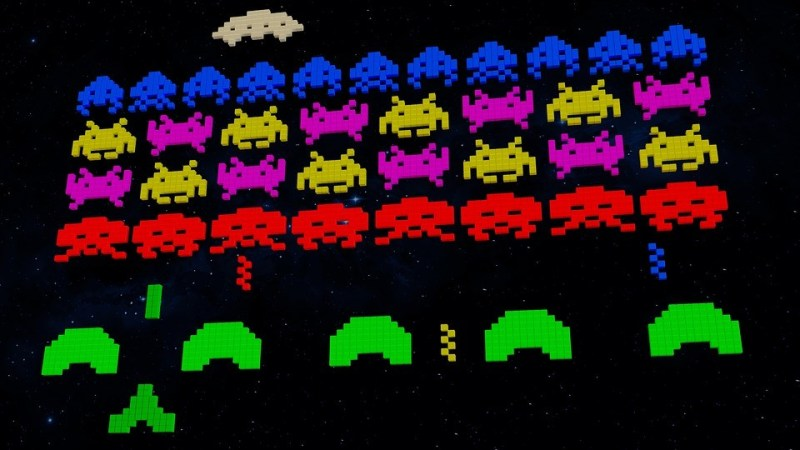 A screen shot of a classic retro video game space invaders.