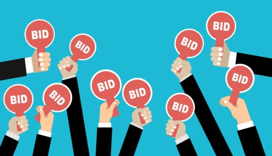 Illustrated hands hold up bid signs.