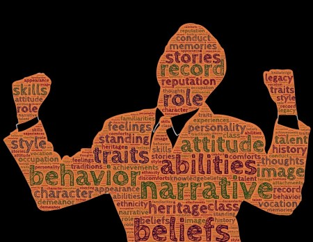 A cut-out of a person holding two fists towards the sky with the words traits, behavior, abilities, narrative, beliefs, attitude, stories and more written on them.